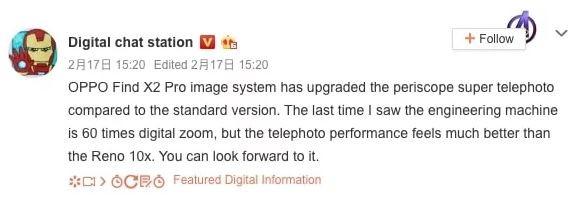 Oppo Find X2 Pro dự kiến sẽ được ra ra mắt trong tháng tới với khả năng zoom kỹ thuật số lên tới 60x ảnh 1