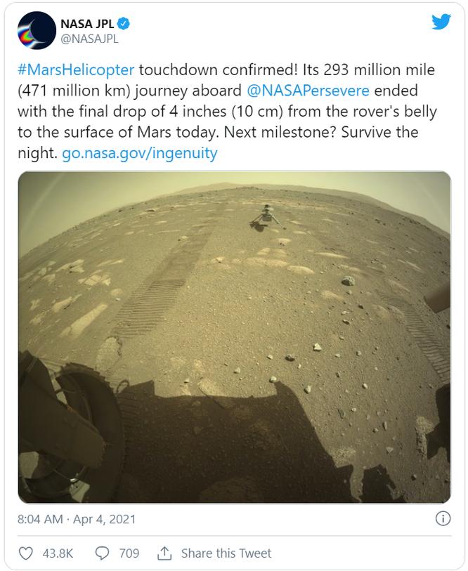 Trực thăng của NASA hạ cánh thành công trên bề mặt sao Hỏa ảnh 1