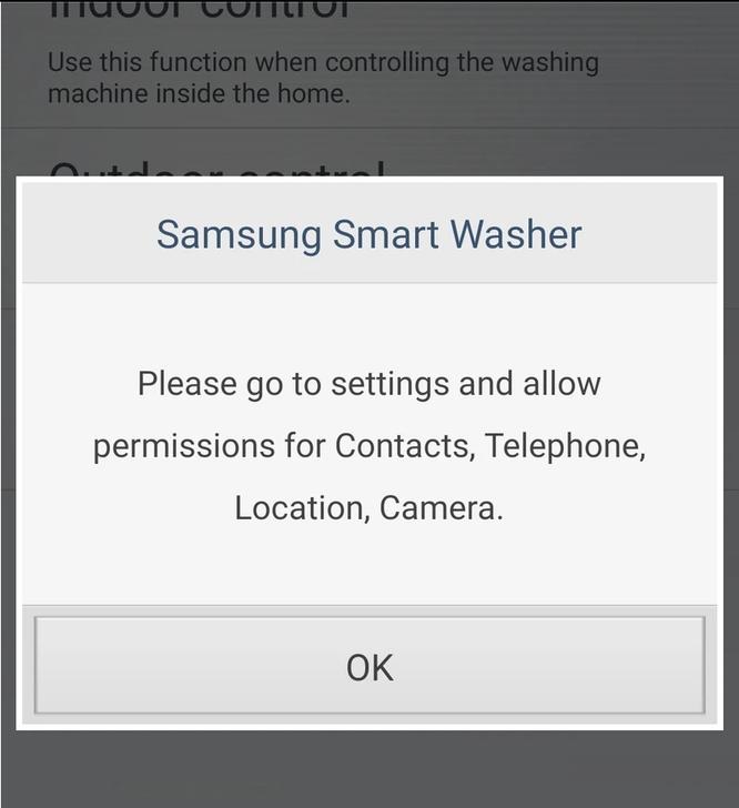 Người dùng bức xúc vì ứng dụng máy giặt của Samsung yêu cầu quyền truy cập danh bạ và vị trí ảnh 1