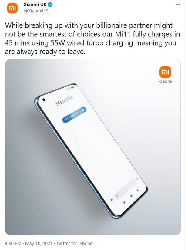 """Xiaomi dùng chuyện ly hôn của tỷ phú Bill Gates để """"quảng cáo"""", cộng đồng mạng chê """"kém duyên"""" ảnh 1"""