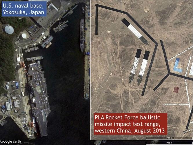 Ảnh vệ tinh cho thấy Trung Quốc đã tấn công mục tiêu giả định là các khu trục hạm Mỹ neo đậu tại căn cứ ở Nhật Bản
