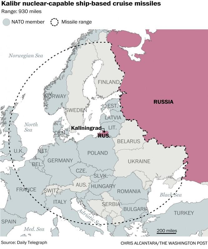 Nếu Nga đặt tên lửa hành trình Kalibr tại Kalingrad sẽ bao trùm gần như toàn bộ Tây Âu