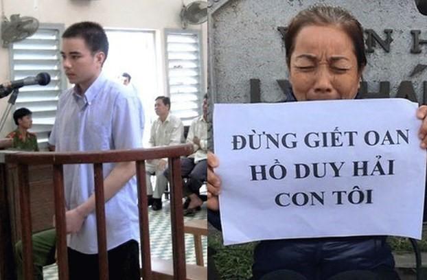 Tử tù Hồ Duy Hải trong một phiên tòa trước đây (trái) và mẹ là bà Nguyễn Thị Loan đang kêu oan cho con. Ảnh: Internet.