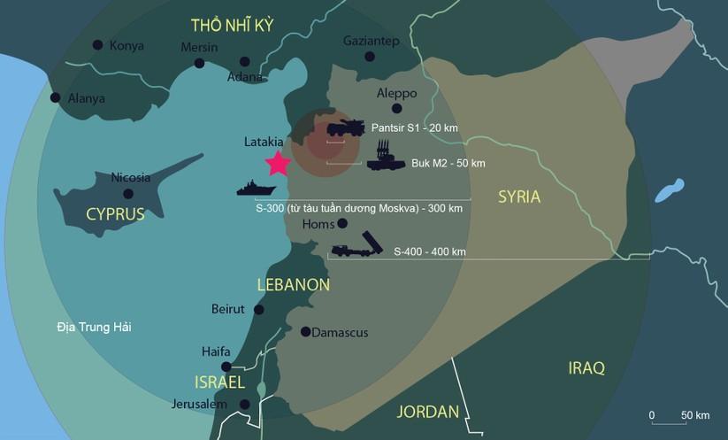 """Nga lập """"ô phòng không"""" 4 tầng bảo vệ máy bay tác chiến tại Syria ảnh 1"""