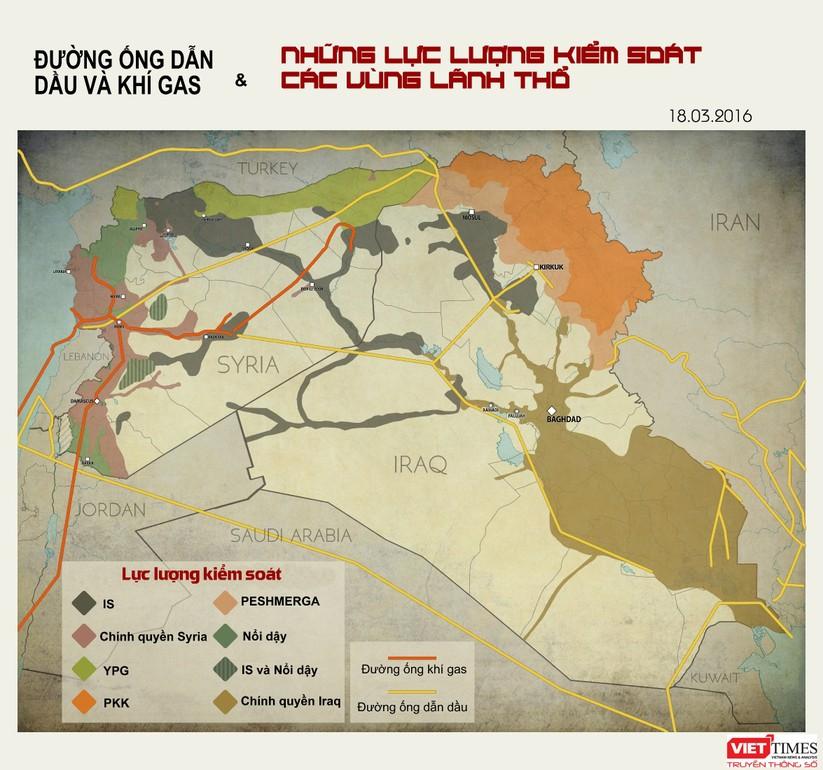 Bản đồ đường ống dầu khí và phân bổ lực lượng ở Iraq - Syria ảnh 1
