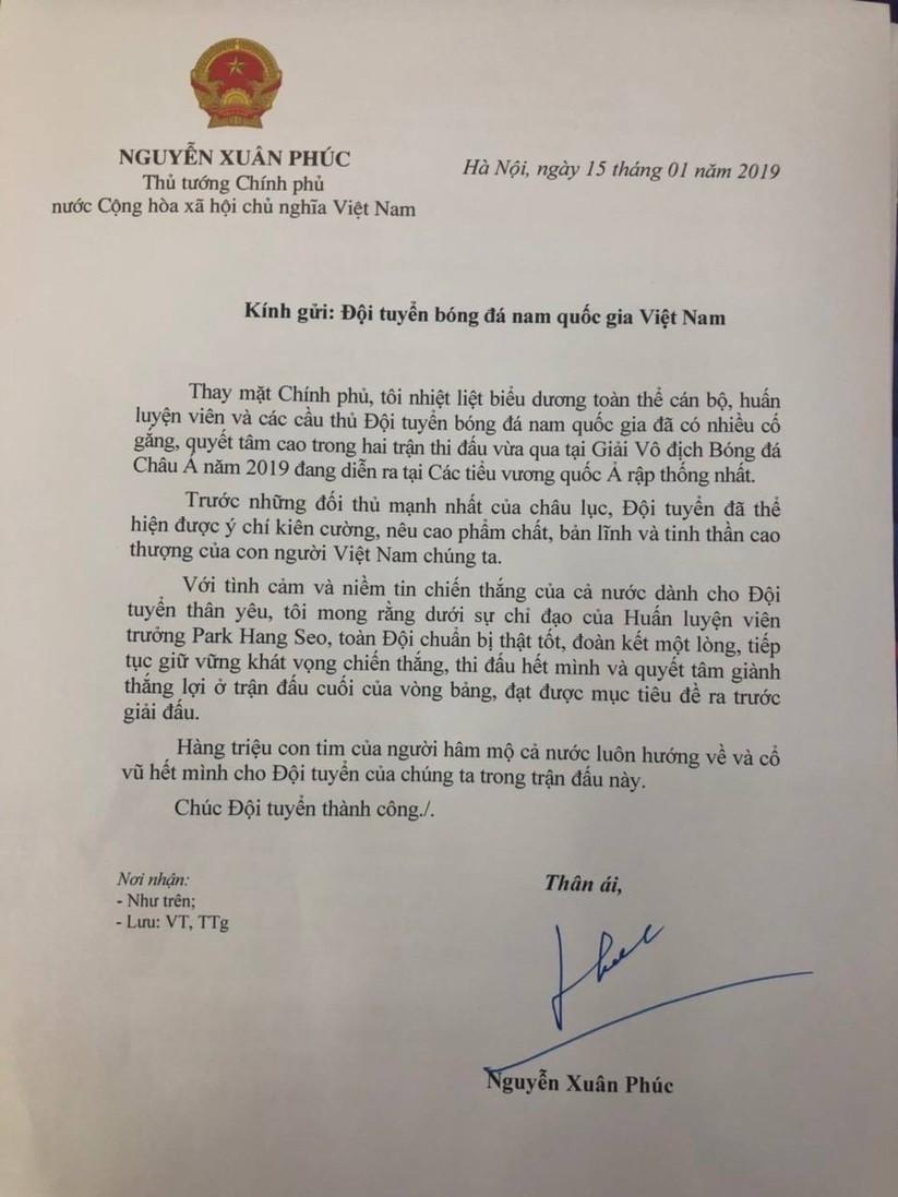 Thủ tướng: Hàng triệu con tim hướng về Đội tuyển Việt Nam! ảnh 1