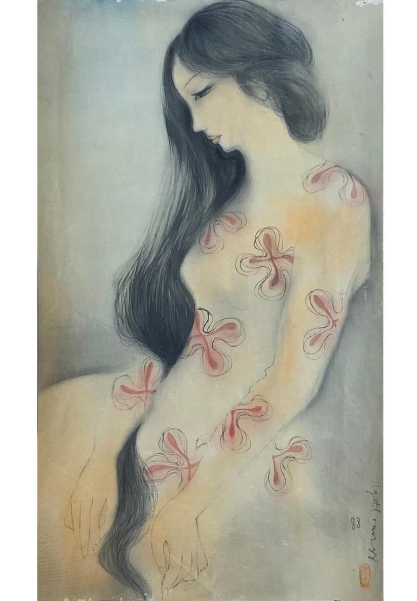 Cô gái Hà Nội. 1988. Lụa. 56 x 34cm