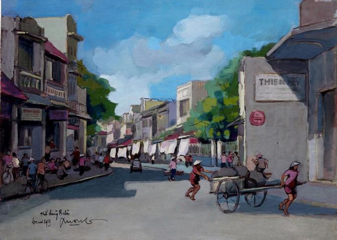 Tranh phố Hàng Buồm của họa sĩ Lê Văn Xương (Hình ảnh do nhà sưu tầm Lê Y Lan cung cấp)