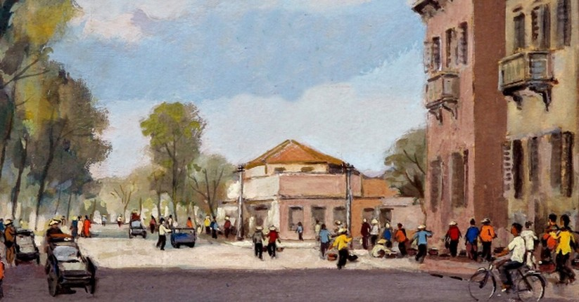 Tranh phố của Lê Văn Xương trong bộ sưu tập do con gái Lê Y Lan lưu giữ