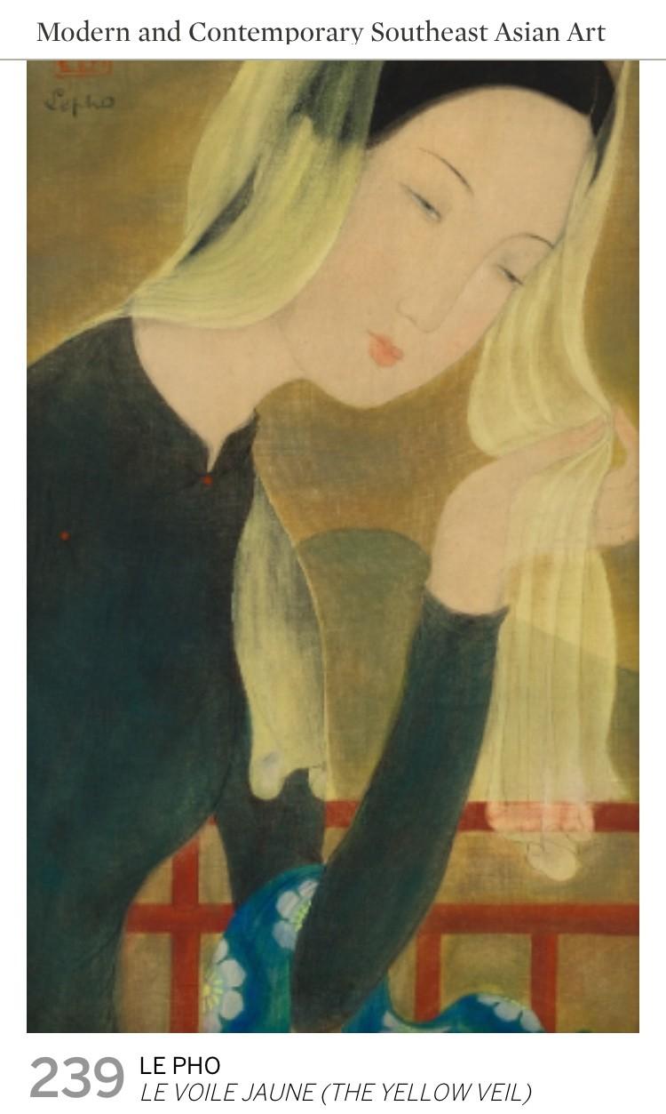 """Bức """"Le Voile jaune"""" đề tên Lê Phổ đã bán tới mức giá 135,416 USD"""