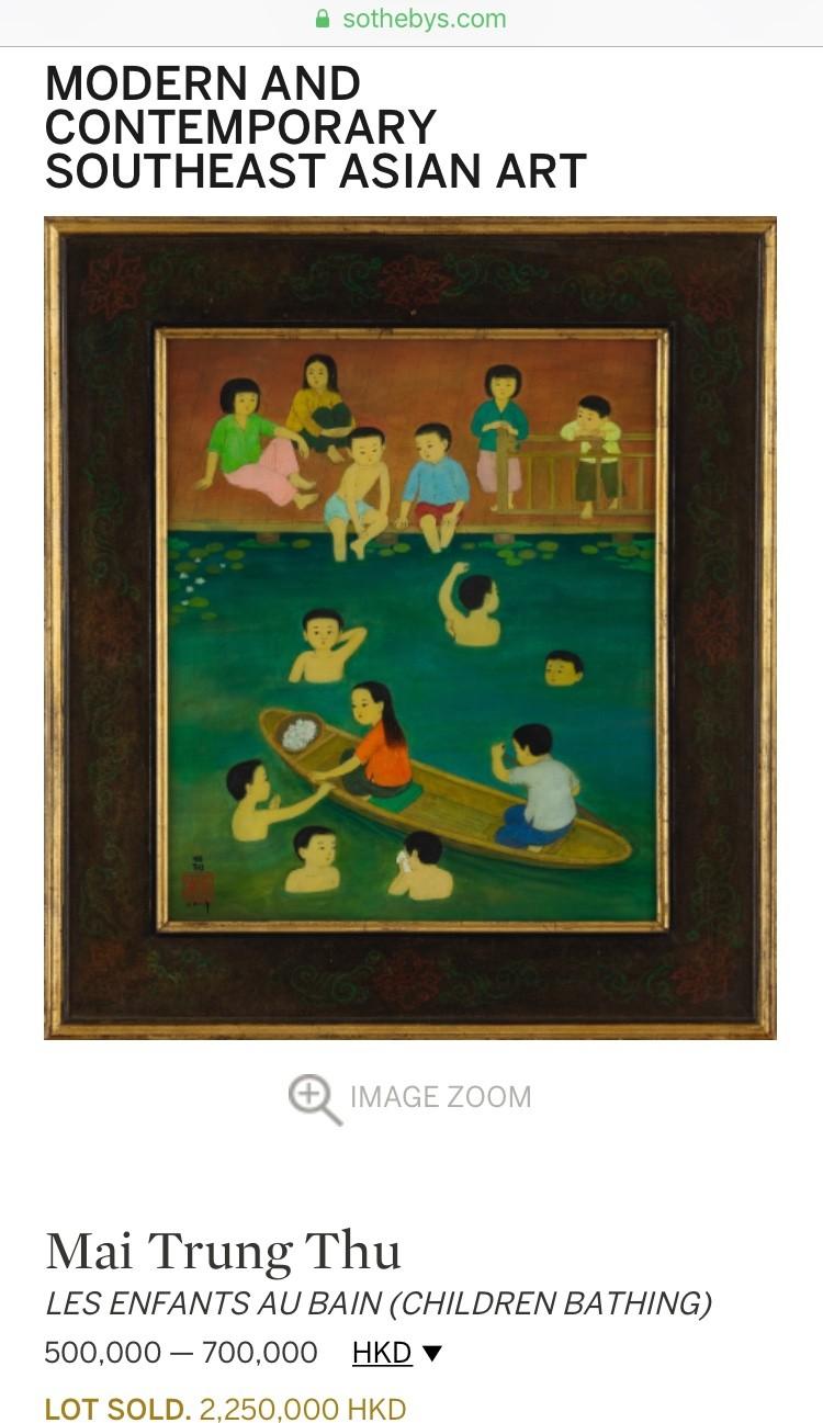 """Bức tranh Việt cao giá nhất phiên đấu ngày 6/10 là lot 253 """"Les enfants au bain"""" của danh họa Mai Trung Thứ bán ra với giá gõ búa 286,763 USD"""