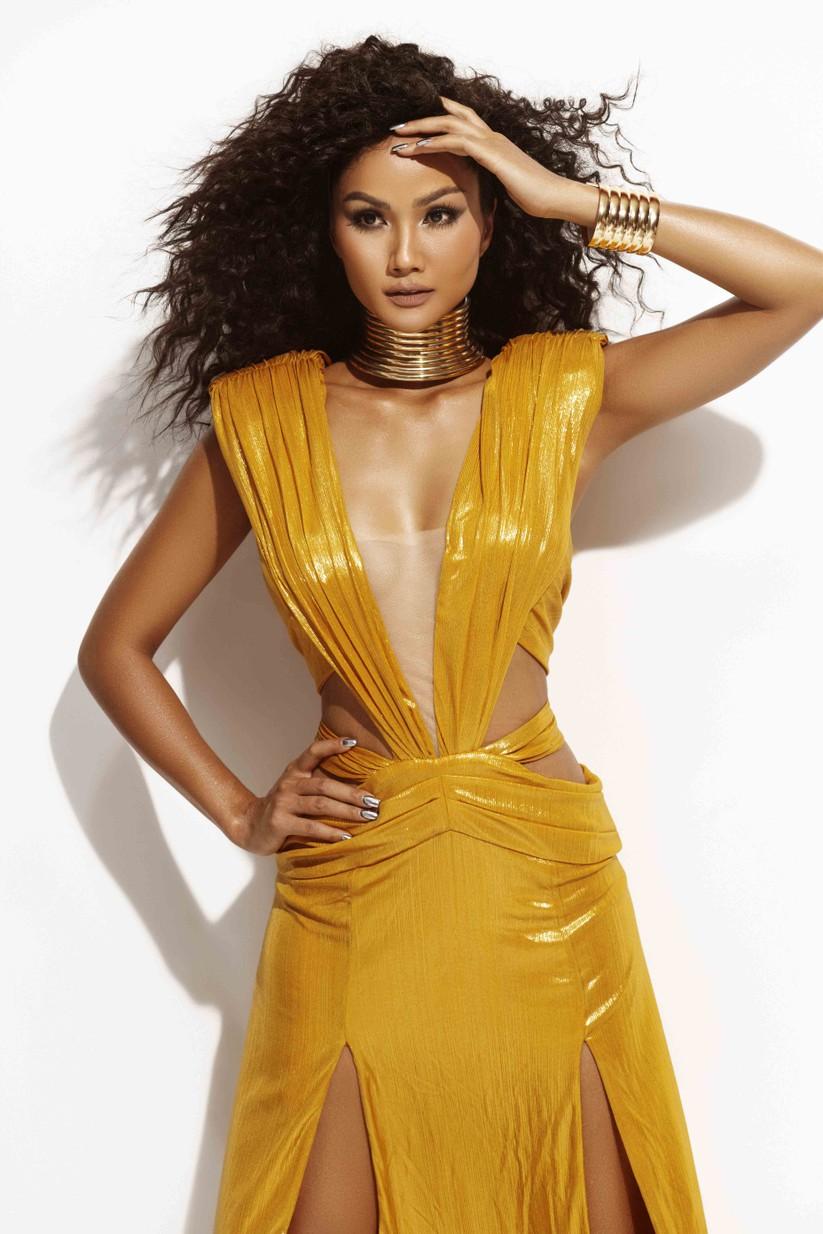 Hoa hậu H'Hen Niê đẹp rực rỡ trong sắc vàng quyền lực ảnh 1
