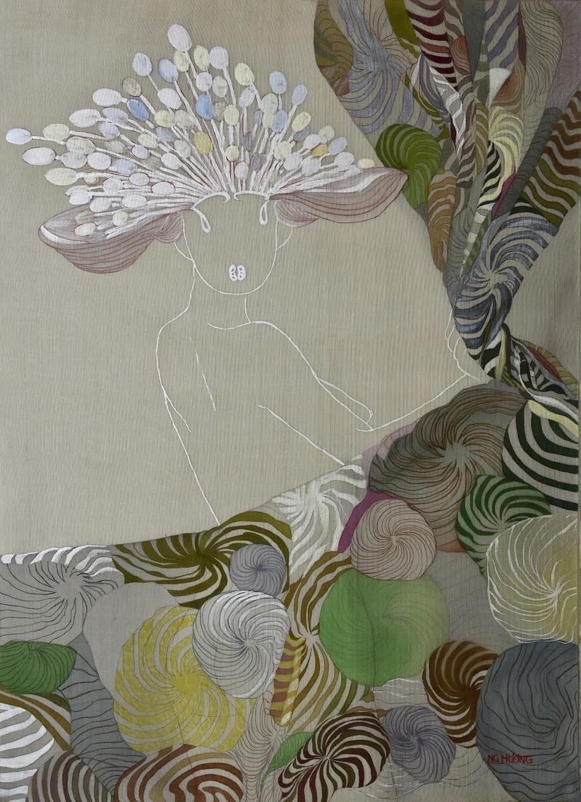Tranh lụa của họa sĩ Nguyễn Thu Hương