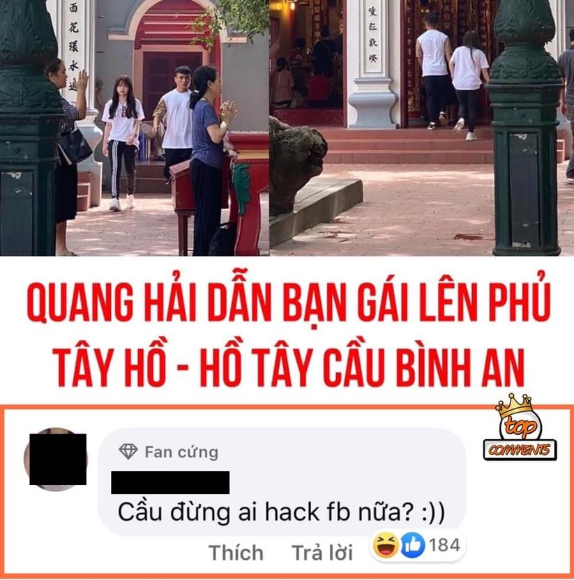 Cư dân mạng đồn đoán Quang Hải dẫn bạn gái lên phủ Tây Hồ cầu bình an (Ảnh: Internet)